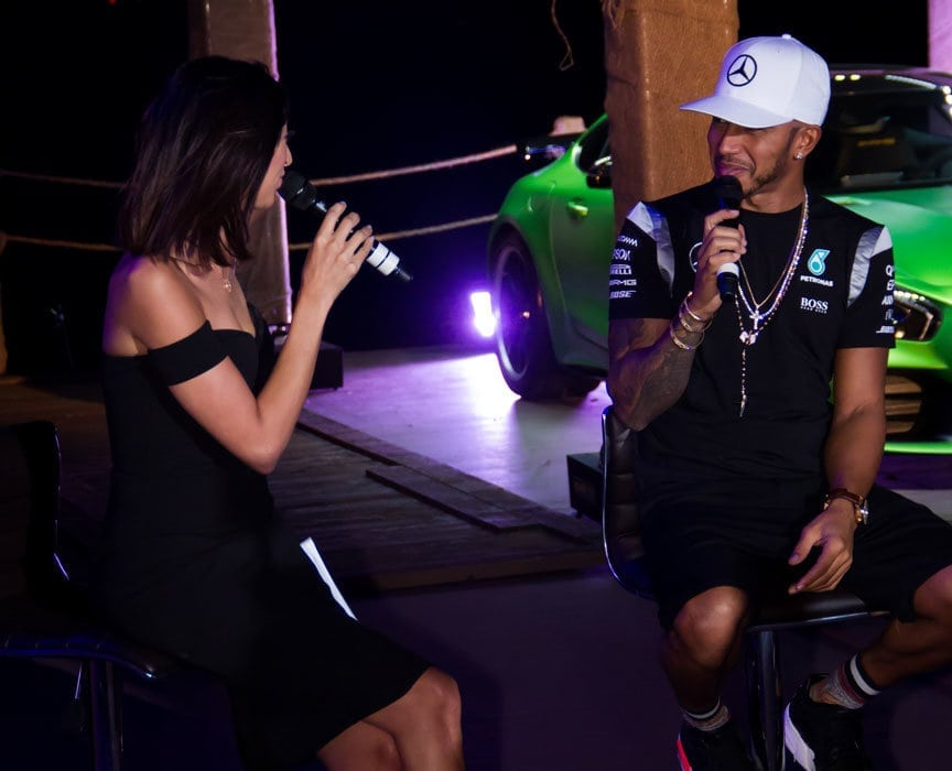 Shereen Mitwalli Best MC in Dubai with Lewis Hamilton