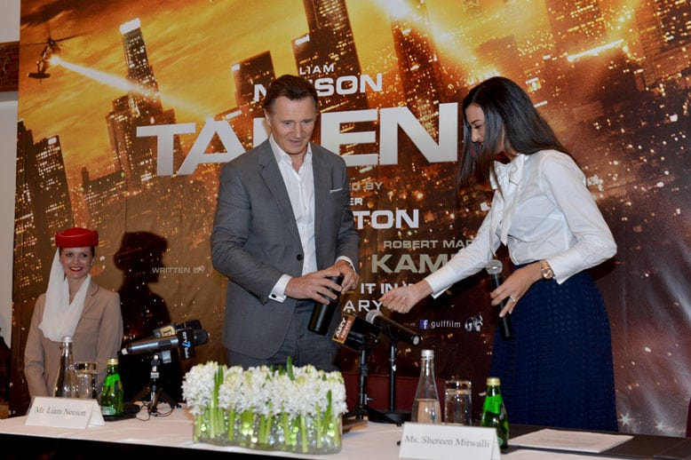 Shereen Mitwalli Best MC in Dubai with Liam Neeson