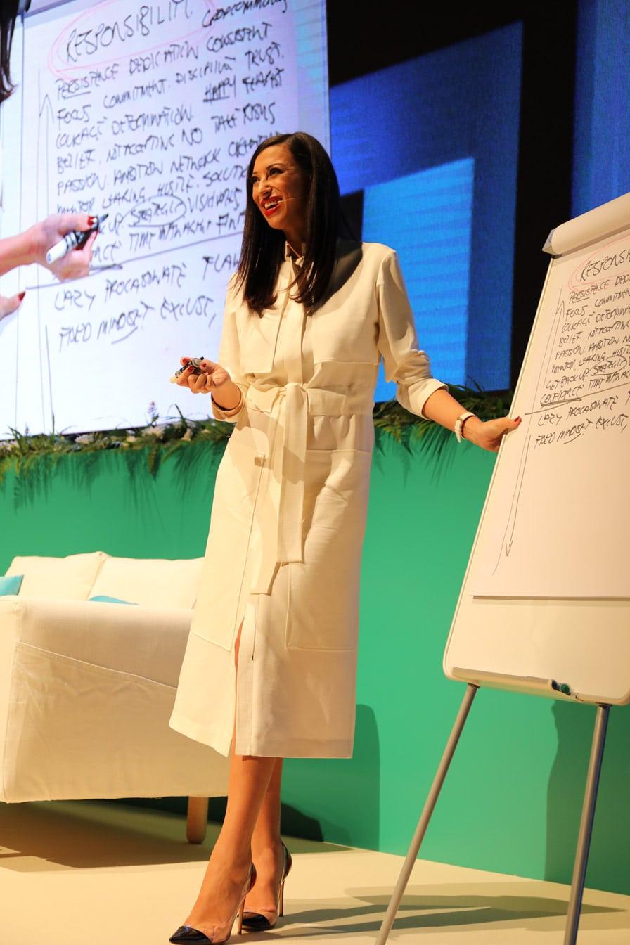 Shereen Mitwalli Best Motivational Speaker in Dubai giving Speech