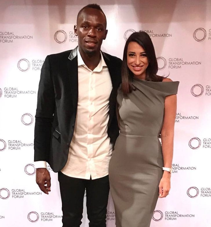 Shereen Mitwalli Best MC in Dubai with Usain Bolt